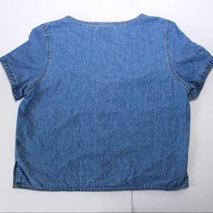 Liz Claiborne Tops - Vintage Denim Boxy Pintuck Crop Tunic Top